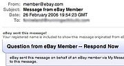 Beware--eBay phishing lures look like real eBay e-mail. Click for full-size image.