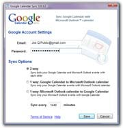 Google Calendar Sync; click for enlarged image.