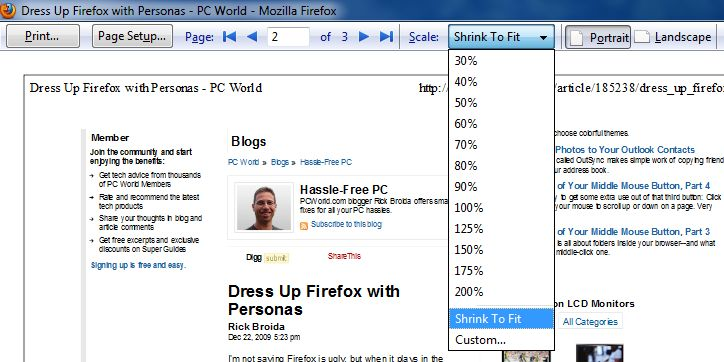 Firefox Tips: Fix Print Size, Add Personality, Refresh Tabs
