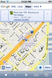 Google Maps Buzz layer in the iPhone browser (click for full-size image).