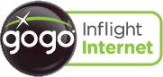 GoGo provides in-flight Internet via Wi-Fi.