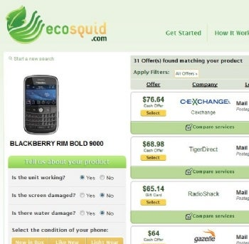 EcoSquid searches multiple services that buy used cell phones.