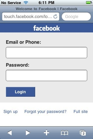 touch facebook sign in