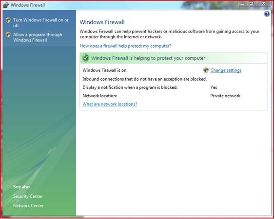 Windows Firewall in Vista