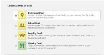 Learn the four types of Facebook Deals: Individual, Friend, Loyalty, and Charity.