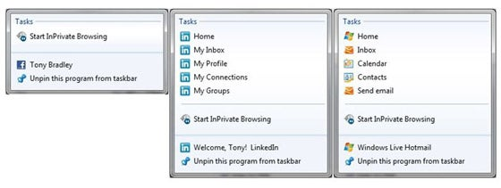 Jump Lists for Facebook, LinkedIn, and Windows Live.