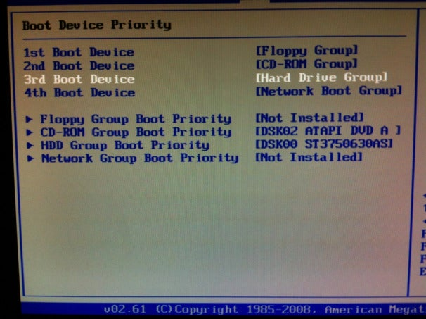 BIOS - Hard Drive Boot Order