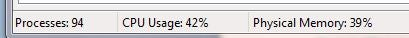 The bottom of the Task Manager has a dashboard displaying vital information.