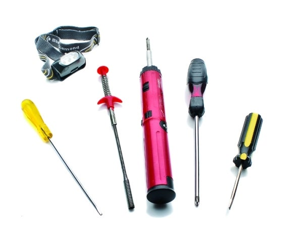 Install toolkit: headlamp, screwdrivers, retractable pincers