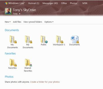 Windows Live SkyDrive stores your files and folders on the Web so you can access them from virtually anywhere.