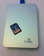 You could use a portable USB drive or SD memory card to transport data between devices, but that's not so elegant.