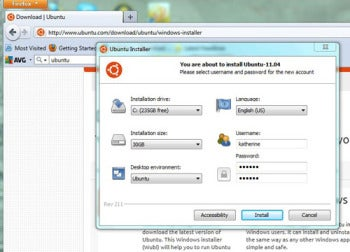 When installing Ubuntu 11.04 through Wubi, it's a good idea to allow some extra space for your files.