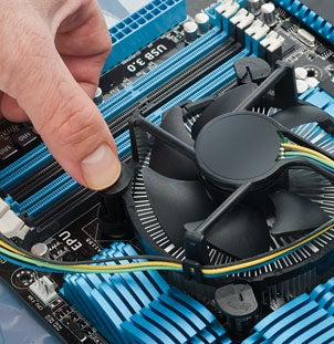 Mounting the CPU cooler on the motherboard
