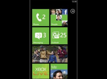 A typical Windows Phone 7 home screen shows Live Tiles feeding in information.
