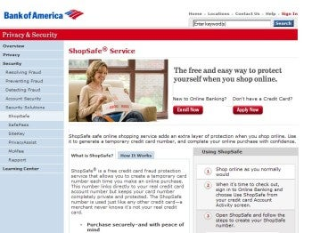 Bank of America ShopSafe virtual credit card number service