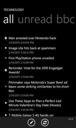 Feed Me app for Windows Phone 7