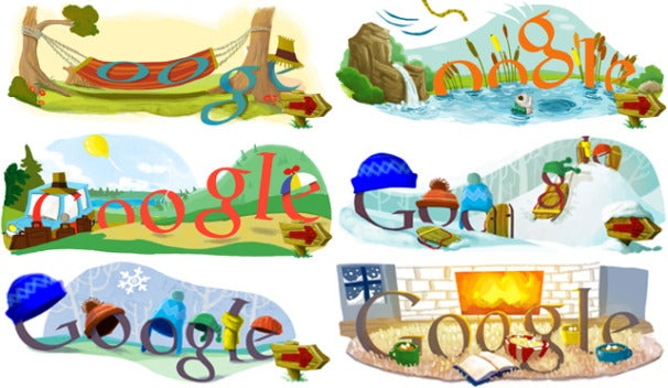 google doodle celebrates first day of summer and winter