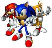 Sonic the Hedgehog and his two best friends Tails and Knuckles.