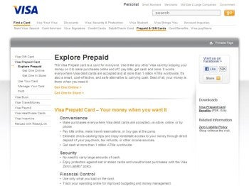 Visa Prepaid credit card