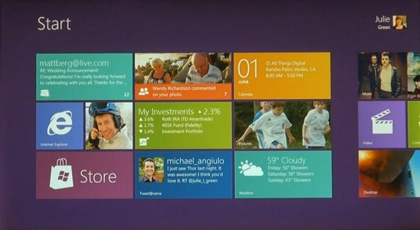 Microsoft Windows 8 start screen