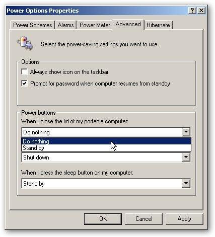 windows 10 close laptop without sleep
