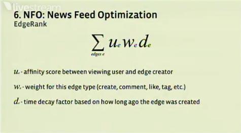 Facebook's EdgeRank social algorithm.