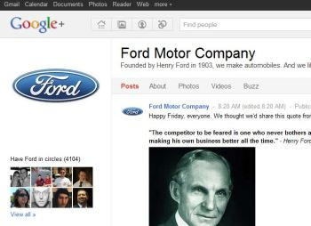 Ford still has a Google+ profile.
