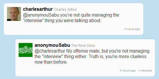 Anonymous Member Launches Diatribe Via Twitter