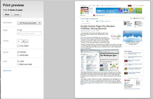 Google Chrome Adds Instant Pages Print Preview