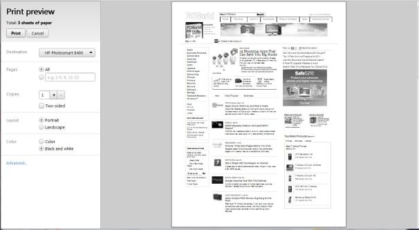Chromes Default Print Preview Setting Is For Black And White Pages As Shown Above Im Guessing This A Cost Saving Feature To Preserve Color Ink