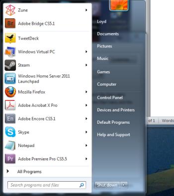 The Start menu, at its most basic.