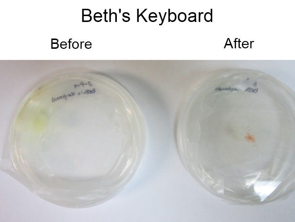 Beth's keyboard, before and after
