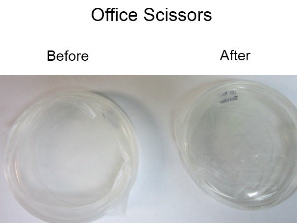 Office scissors, before and after