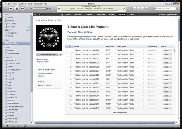 Free music podcasts on iTunes