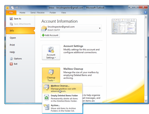 Outlook 2010 offers several options for slimming down your mailbox.