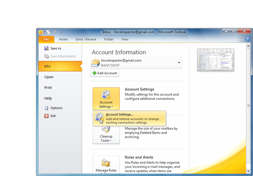 Getting to the Account Settings dialog box in Office 2010 requires you to click an Account Settings button, which pulls down a menu with only one option: Account Settings.