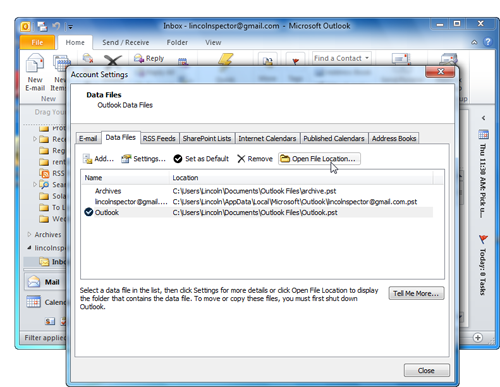 The Open File Location button (or Open Folder in Office 2007) will tell you where your Outlook data files are located.