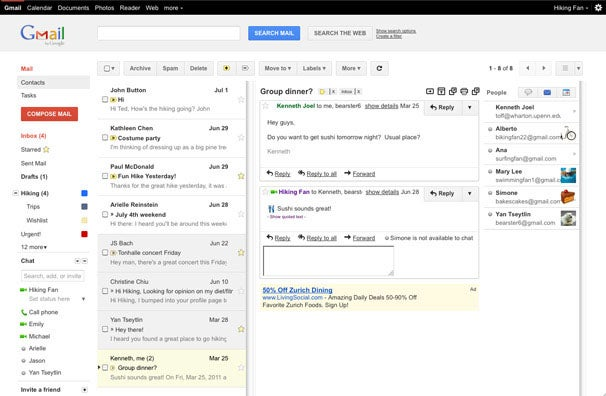 Google brings the Gmail Web interface for the Apple iPad to PCs and adds preview panes.