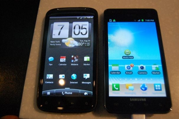 HTC Sensation side-by-side with the Galaxy S II