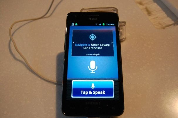 Tap to Speak navigation powered by Vlingo