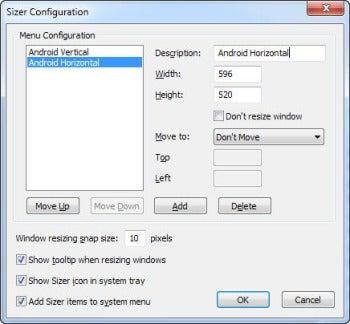 Sizer screenshot