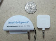 GoPayment scanner (left) and Square reader (right)