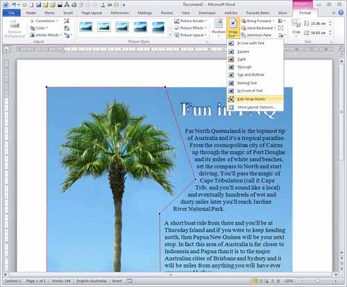 Add nodes to cause text to wrap in a way that matches the contours of an image.
