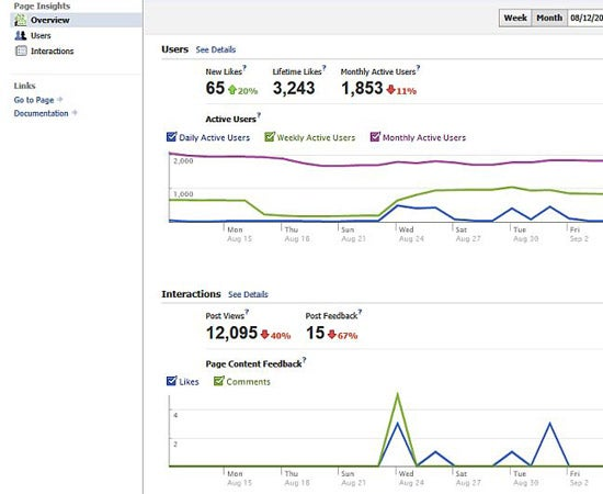 Facebook Insights section