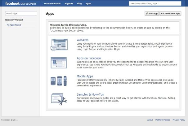 Facebook's Developer App page