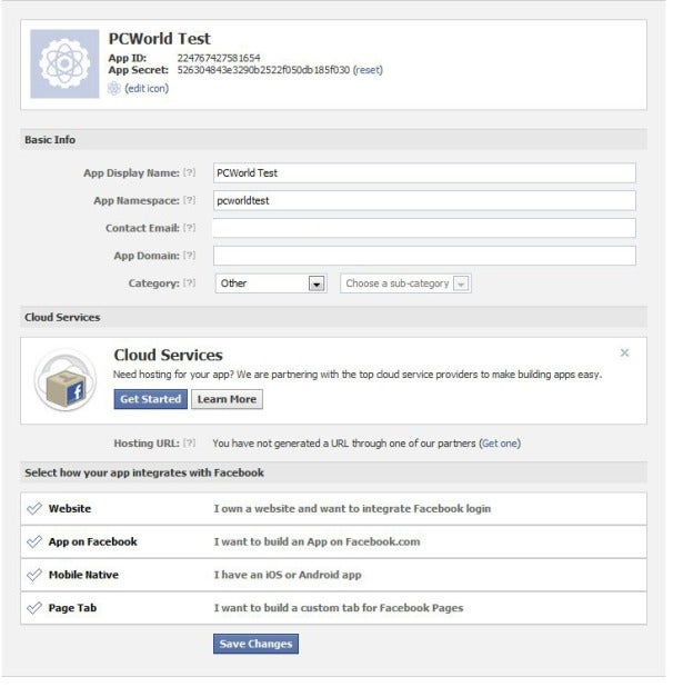 Facebook's app setting screen