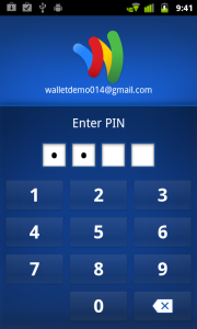 Entering a PIN in Google Wallet.