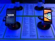 HTC Titan, left, and Radar smartphones with Windows Phone 7 Mango OS