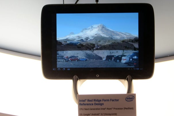 Intel showed Medfield-based tablet prototypes behind glass.