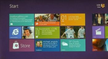 The Start screen in Windows 8